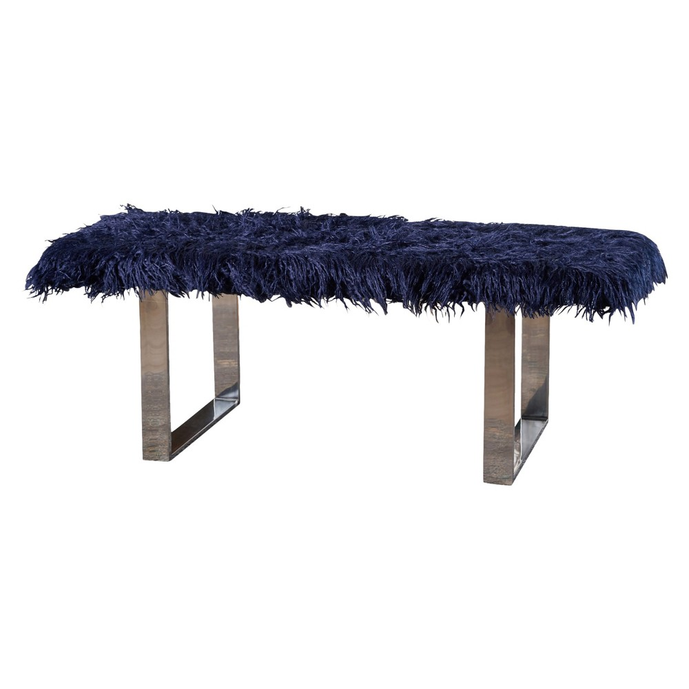 Damie Furry Ottoman - Blue - Christopher Knight Home