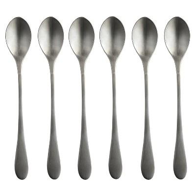Knork 8.5 Inch Handle 18/0 Stainless Steel Cocktail Tea Beverage Stirring Spoons, Matte Silver (6 Pack)