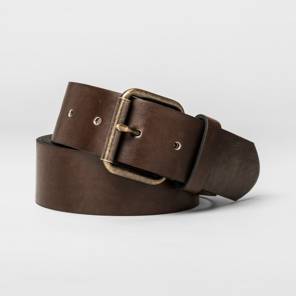 Image of Men's 40mm Leather Belt With Harness Roller Buckle - Goodfellow & Co Brown M, Men's, Size: Medium