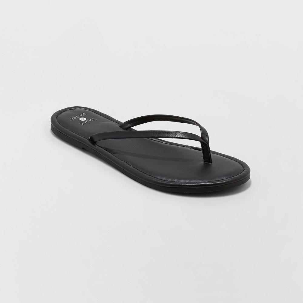 Women's Ava Skinny Wide Width Strap Flip Flop - Shade & Shore Black 7W, Size: 7 Wide