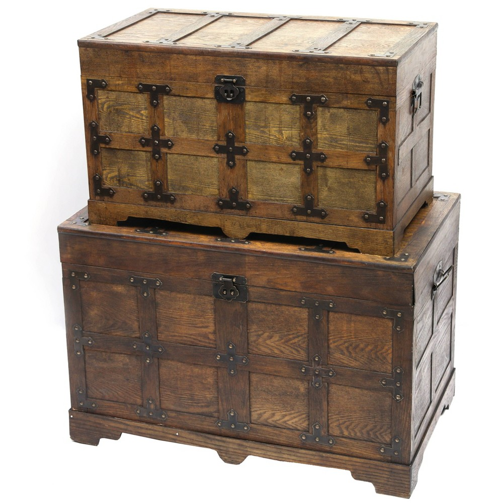 Set of 2 Rustic Natural Streamer Trunk with Studded Detail Antique Wood - Vintiquewise