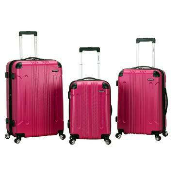 Rockland Sonic 3pc Expandable ABS Spinner Luggage Set - Magenta