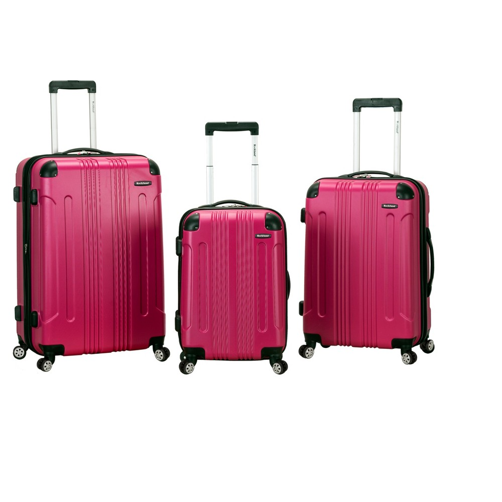 Rockland Sonic 3pc Expandable Abs Spinner Luggage Set Magenta