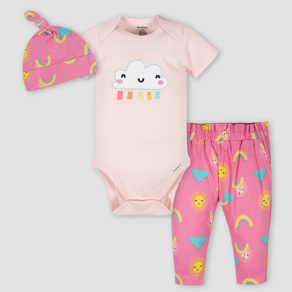 Image of Gerber Baby Girls' 3pc Rainbow Bodysuit Set - Pink 0-3M, Girl's
