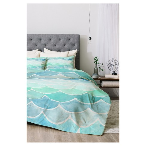 Green Wonder Forest Mermaid Scales Comforter Set (King) 3pc - Deny Designs - image 1 of 4