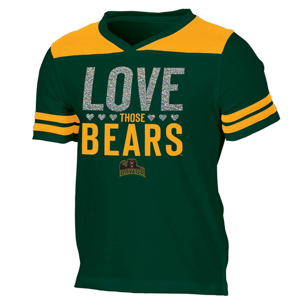 Baylor Bears Girls' Short Sleeve Team Love V-Neck T-Shirt XS, Multicolored