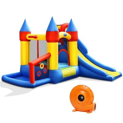 Costway Inflatable Bounce House Slide Bouncer Kids Castle Jumper w/ Balls & 780W Blower
