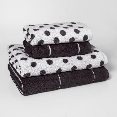 Woven Pattern Bath Towel Set Dark Gray - Project 62™