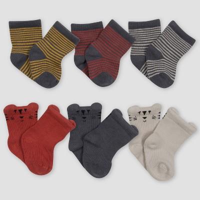 Gerber Baby Boys' 6pk Safari Socks - Off-White/Orange/Gray