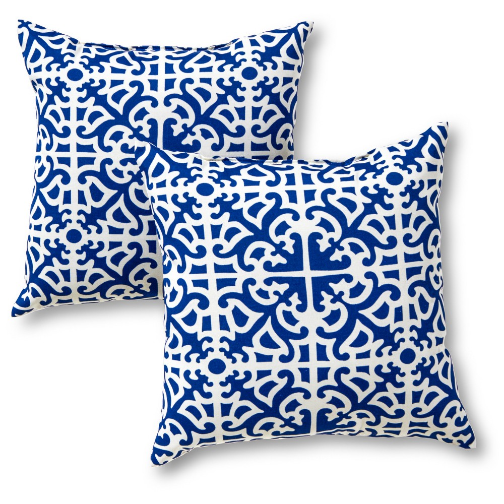 Image of Greendale Home Fashions Set of 2 Square Outdoor Accent Pillows - Indigo (Blue)