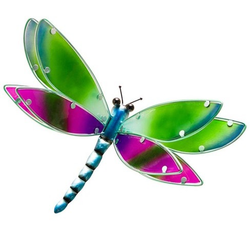 Vibrant 3 D Glass And Metal Indoor Outdoor Wall Art Sculpture Dragonfly Plow Hearth