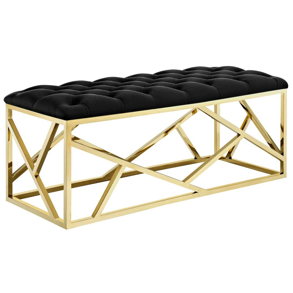 Intersperse Bench Gold Black - Modway