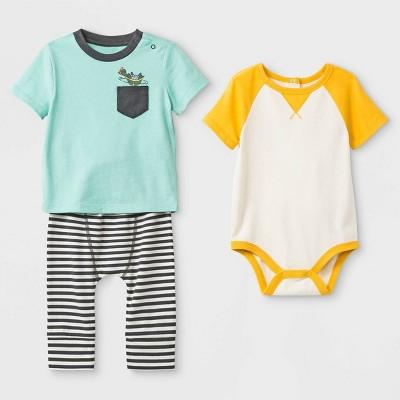 Baby Boys' 3pc Pocket T-Shirt, Raglan Bodysuit, Span Jersey Leggings Set - Cat & Jack™ Yellow/Green/Black 0-3M
