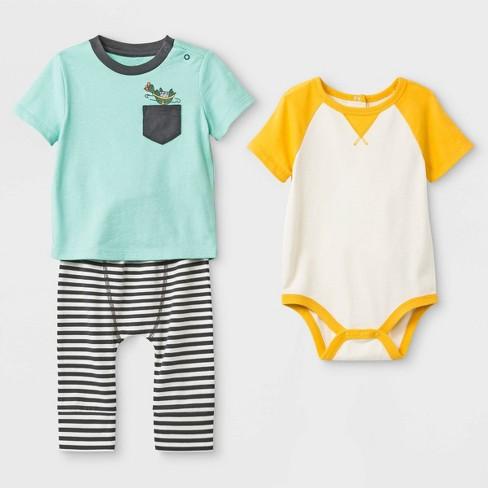 Baby Boys 3pc Pocket T Shirt Raglan Bodysuit Span Jersey Leggings Set Cat Jack Yellow Green Black 0 3m Target