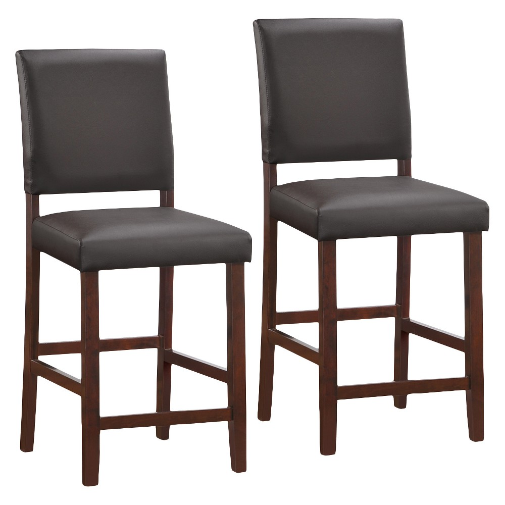 Set of 2 Faux Leather Upholstered Back Counter Height Stool - Black - Leick Home, Cappuccino