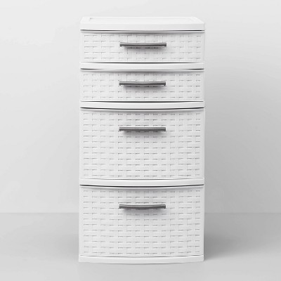 4 Drawer Med Weave Tower White - Room Essentials™