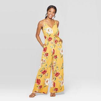 Women's Floral Print Deep V-Neck Strappy Wrap Front Jumpsuit - Xhilaration™ Mustard S