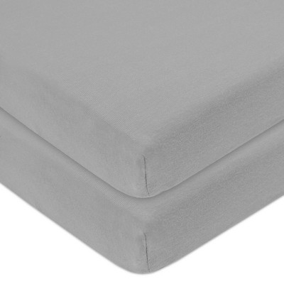 TL Care Fitted Cotton Playard Sheet - Gray - 2pk
