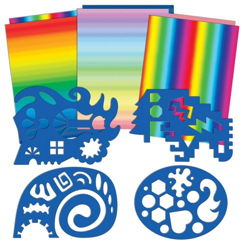 Roylco Double Color Rainbow Paper and Unruly Rulers - 4 Silly Stencils - image 1 of 3