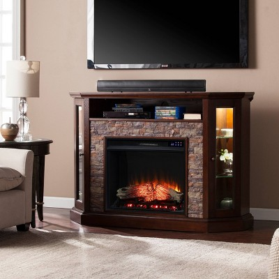 Reddon Corner Convertible Touch Panel Electric Fireplace with Storage - Aiden Lane