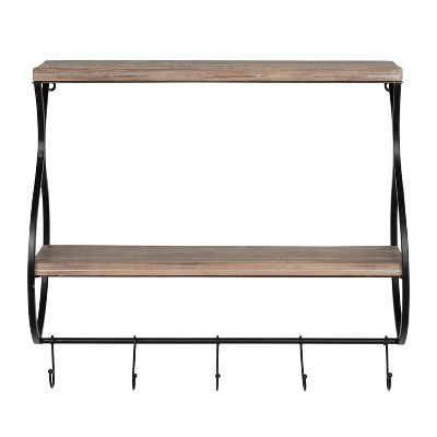Wall Shelf 2-Tier with 3 Hooks - Brown/Black