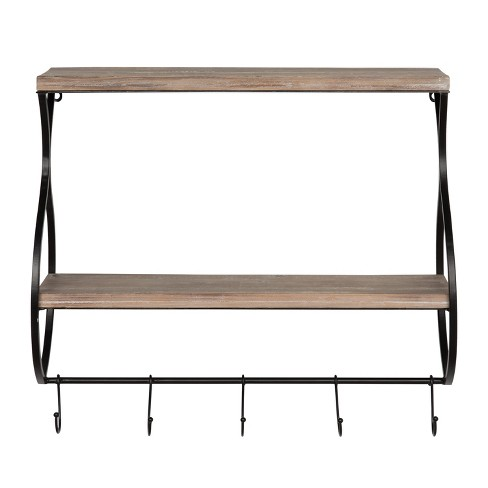 Wall Shelf 2-Tier with 3 Hooks - Brown/Black - image 1 of 4