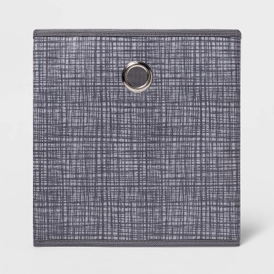 "11"" Fabric Cube Storage Bin Cross Hatched Gray - Room Essentials™"