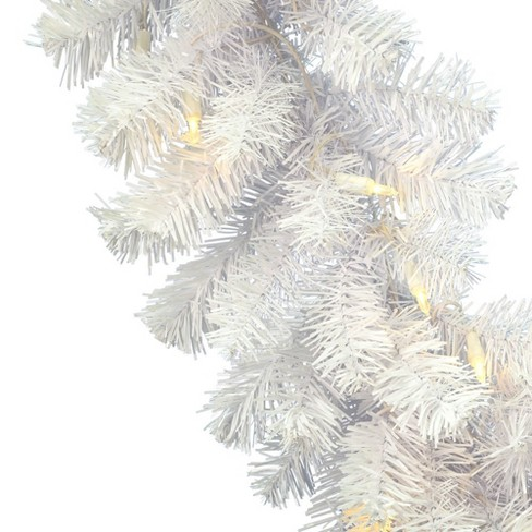 Vickerman 9' Crystal White Spruce Artificial Christmas Garland With 50 Warm White Spruce LED Lights : Target