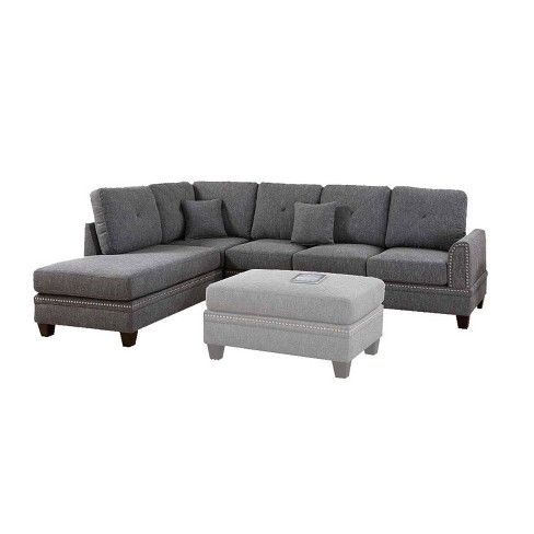2pc Polyfiber Sectional Set With Nail Head Trims Gray - Benzara - image 1 of 4