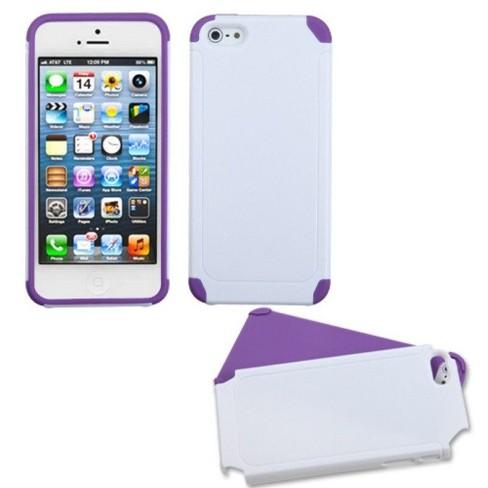 MYBAT For Apple iPhone 5/5S/SE White Purple Fusion Hard Silicone Hybrid Case - image 1 of 3