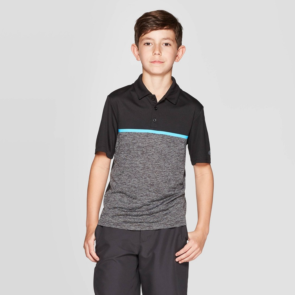 Image of Boys' Chest Stripe Golf Polo Shirt - C9 Champion Black L, Boy's, Size: Large