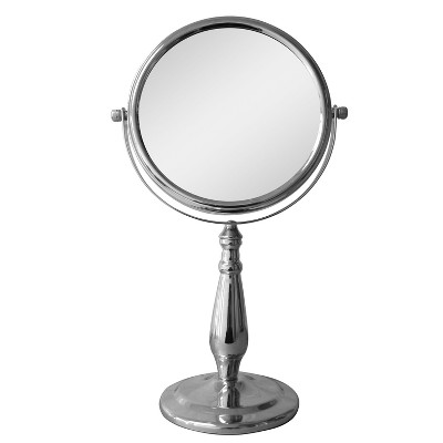 Freestanding Bath Magnifying Makeup Mirror Light Silver 13.5  - Elegant Home Fashions