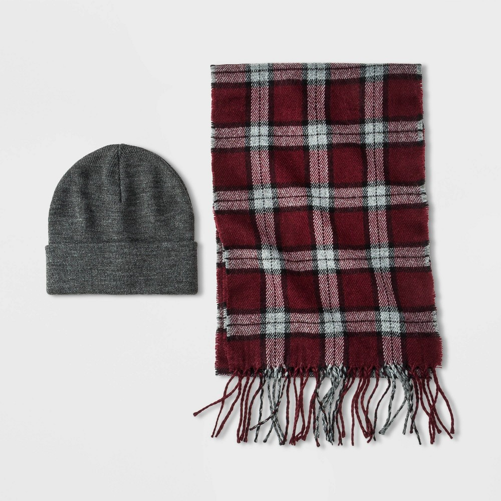 Image of Men's Holiday Plaid Scarf + Beanie Set - Goodfellow & Co Gray/Burgundy One Size, Men's, Red/Gray