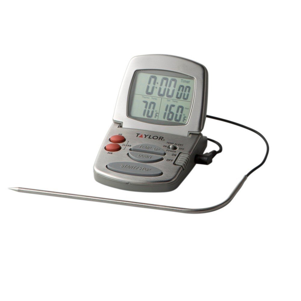 Taylor Gourmet Programmable Stainless Steel Probe Thermometer with Timer, Dark Silver