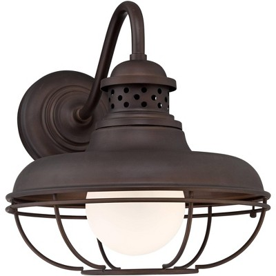 """Franklin Iron Works Farmhouse Outdoor Barn Light Fixture Oiled Bronze Open Cage 16"""" White Glass Orb Diffuser for Exterior House"""