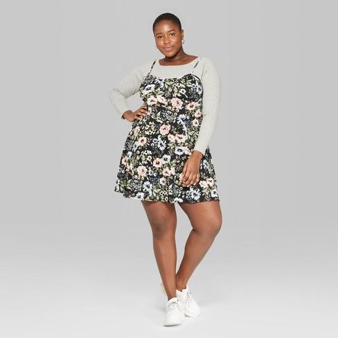7499087e35f Women s Plus Size Floral Print Strappy Knit Swing Dress - Wild Fable™ Black
