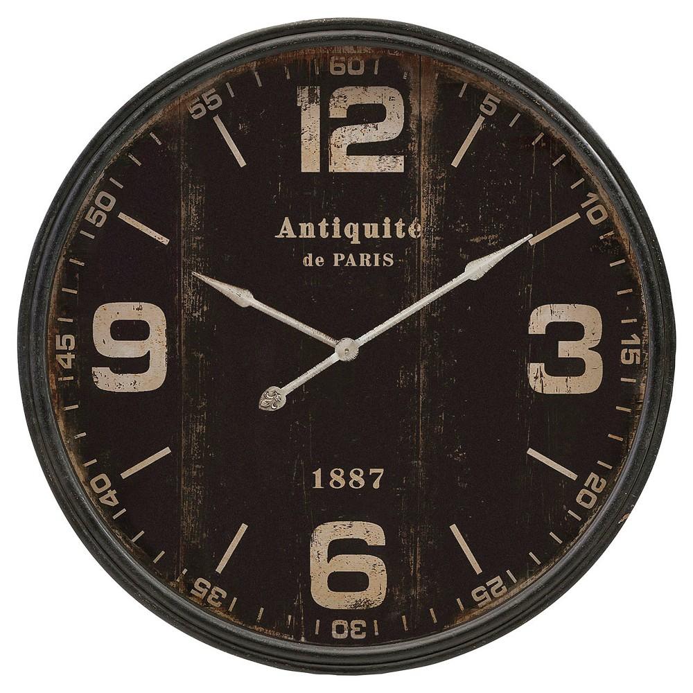 "Image of ""40"""" Round Wall Clock Distressed Black - Aurora"""