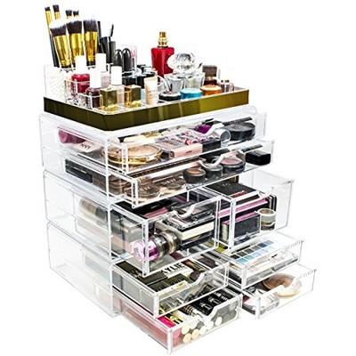 Sorbus Makeup Storage Organizer - X-Large - Set 2 - Silver