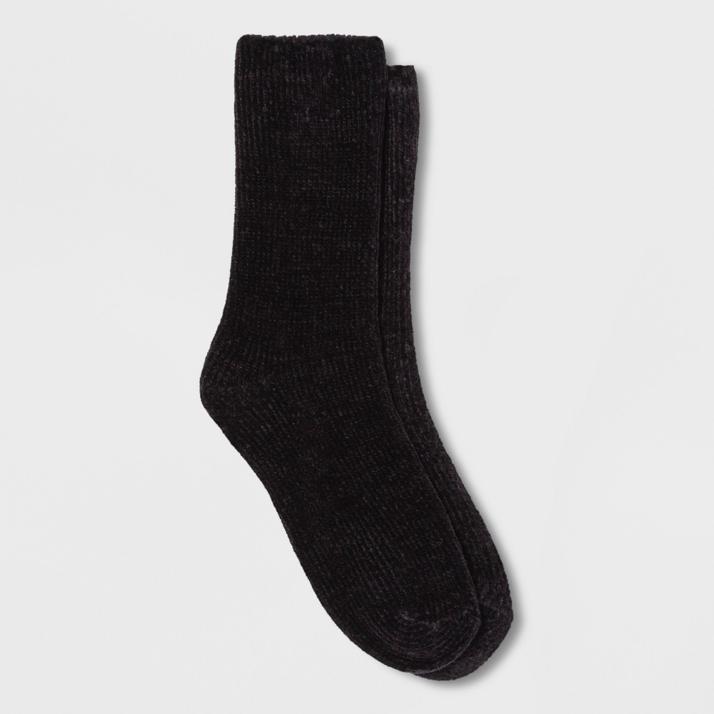 Women's Chenille Cozy Crew Socks Black One Size