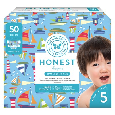Honest Company Disposable Diapers, Boat Races - Size 5 (50ct)