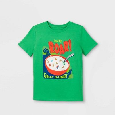 Boys' 'Feed my Roar' Short Sleeve Graphic T-Shirt - Cat & Jack™ Medium Green