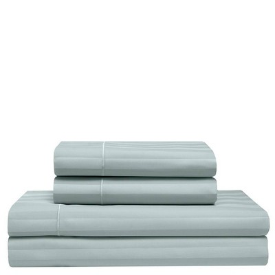 California King 525 Thread Count Satin Stripe Cooling Cotton Sheet Set Pale Blue - Elite Home Products
