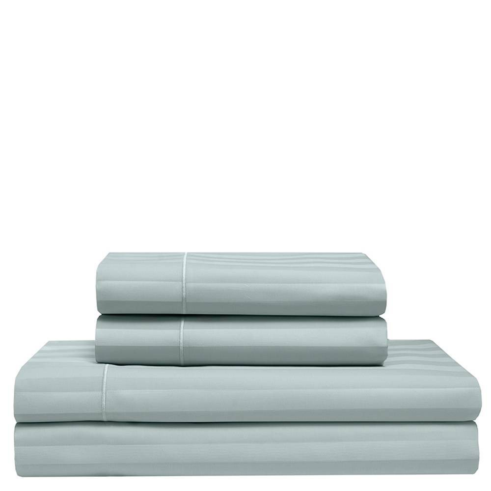 Image of California King 525 Thread Count Satin Stripe Cooling Cotton Sheet Set Pale Blue - Elite Home Products