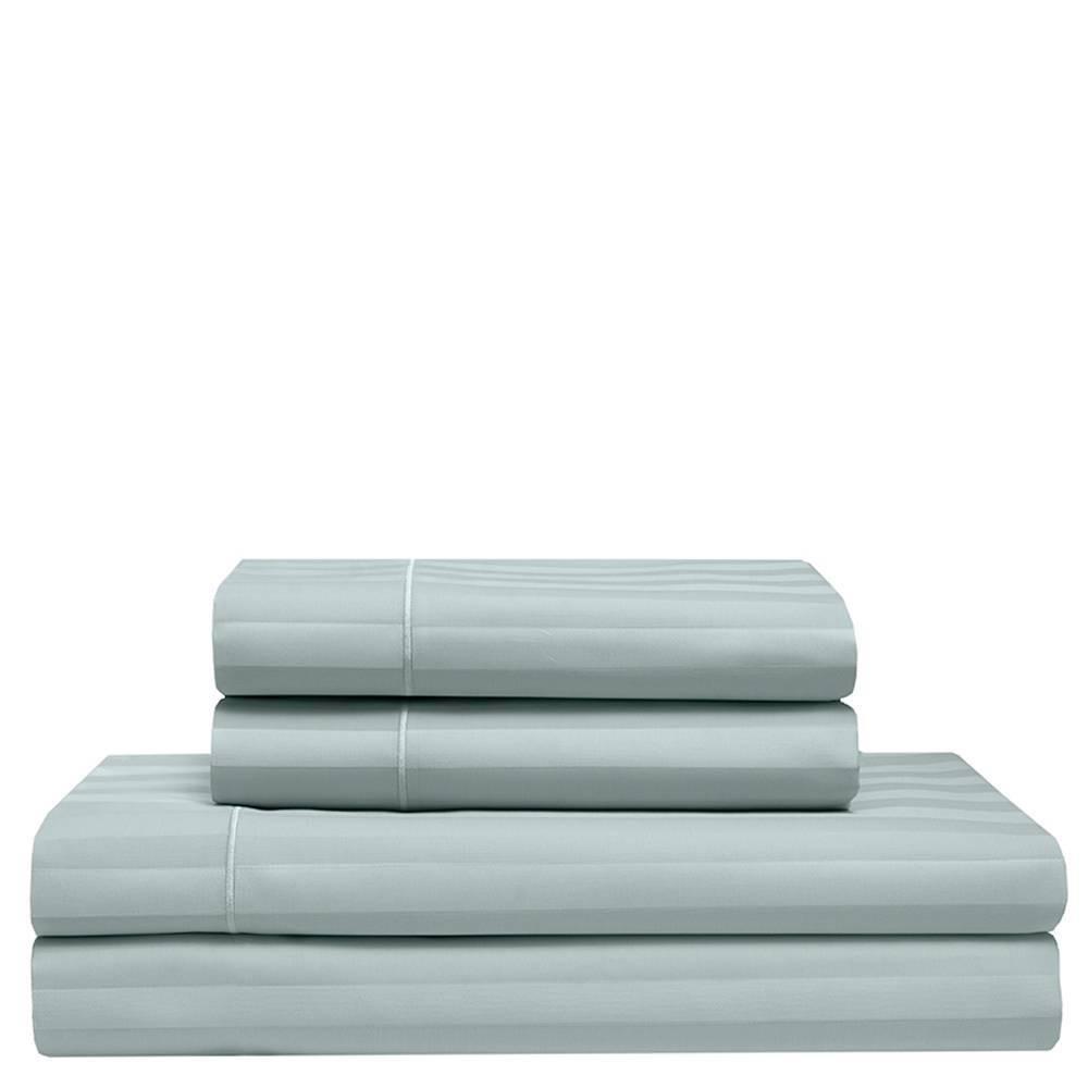 Split King 525 Thread Count Satin Stripe Cooling Cotton Sheet Set Pale Blue - Elite Home Products