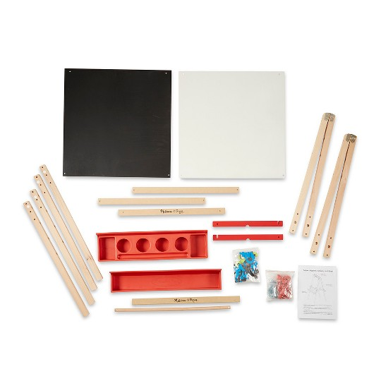 Melissa & Doug Deluxe Magnetic Standing Art Easel With Chalkboard, Dry-Erase Board, and 39 Letter and Number Magnets image number null