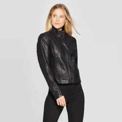 Women's Faux Fur Long Sleeve Leather Jacket - A New Day™ Black