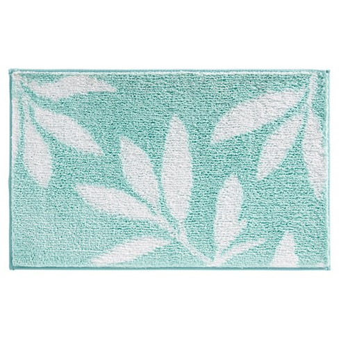 "InterDesign Microfiber Rectangular Leaves Rug - Mint/White, 34"" x 21"" - image 1 of 2"