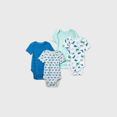 Baby Boys' 4pk Dino Dreams Short Sleeve Bodysuit - Cloud Island™ Blue Newborn