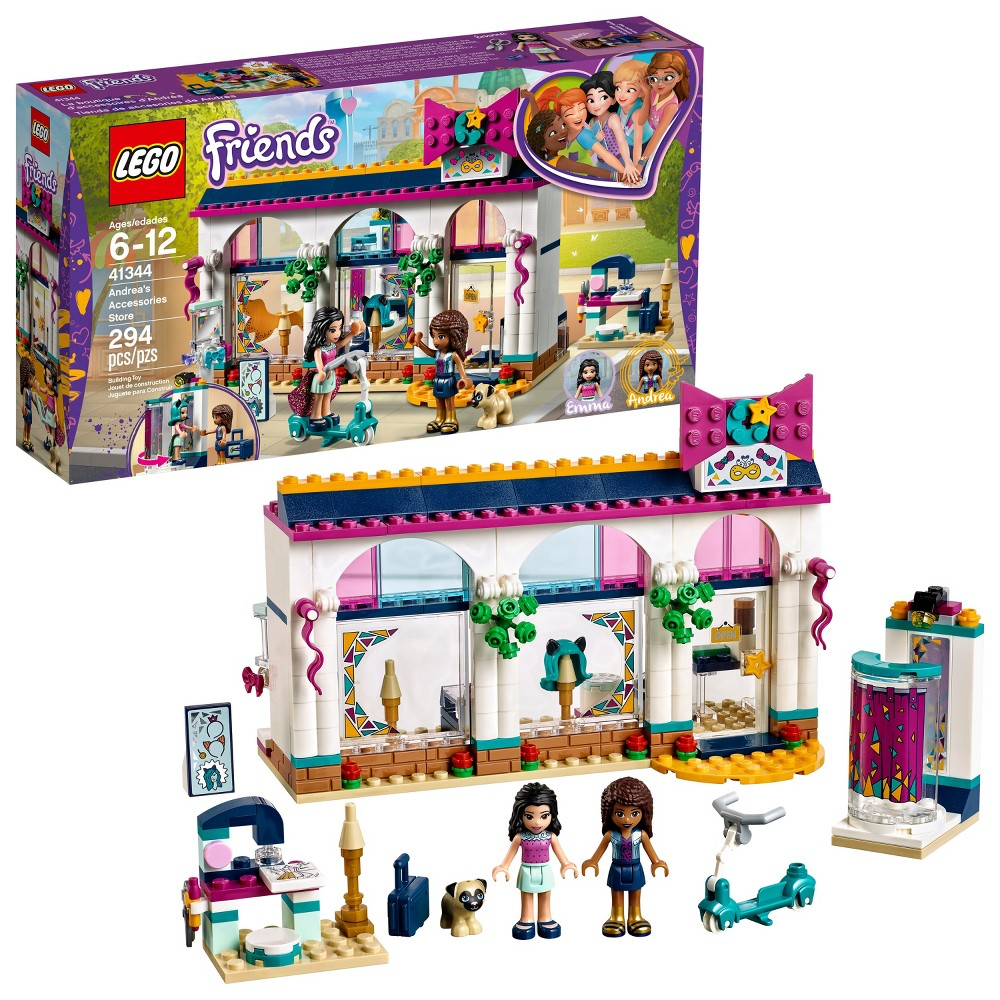 Lego Friends Andrea's Accessories Store 41344 Browse the displays at Lego Friends 41344 Andrea's Accessories Store, including a wig, textile skirt, handbag, hair bows and perfume. The fitting room with mirror spins around to reveal Andrea's new look to her friend. This fun fashion shop set also includes a sewing machine, cash register, loudspeakers and a stand for Dexter the dog, plus a super-cool scooter for Andrea to get around Heartlake City. Accessory elements include a purple wig with cat ears, textile skirt, handbag, hair bows, camera, perfume bottle, cash register, money bill, sewing case, sewing pattern tile and a cookie. Includes 2 mini-dolls plus a dog figure. Accessories Store measures over 5  (13cm) high, 7  (19cm) wide and 3  (9cm) deep. Fitting room measures over 2  (6cm) high, 1  (3cm) wide and 1  (4cm) deep. Gender: Unisex.