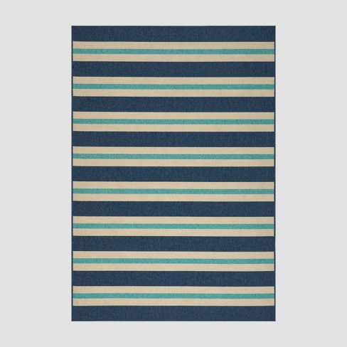 5' x 8' Ronan Geometric Outdoor Rug Blue/Ivory - Christopher Knight Home - image 1 of 4